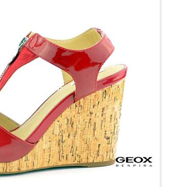 Geox sandály na klínu se zipem červené Victory