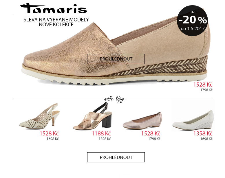 Tamaris akční ceny na vybrané modely nové kolekce